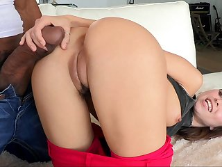 Young Riley sliding on a fat black cock